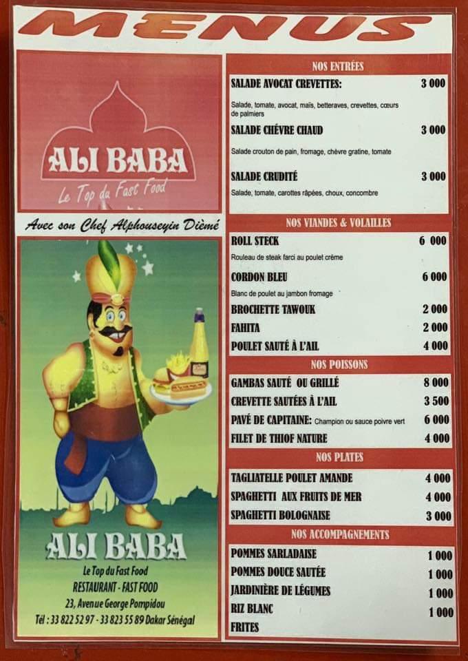 Menu Restaurant Ali baba Dakar