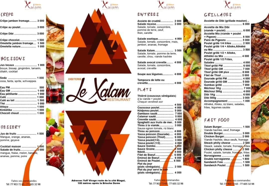 Menu Restaurant le Xalam Dakar