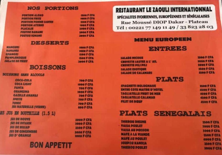 menu le zaouli