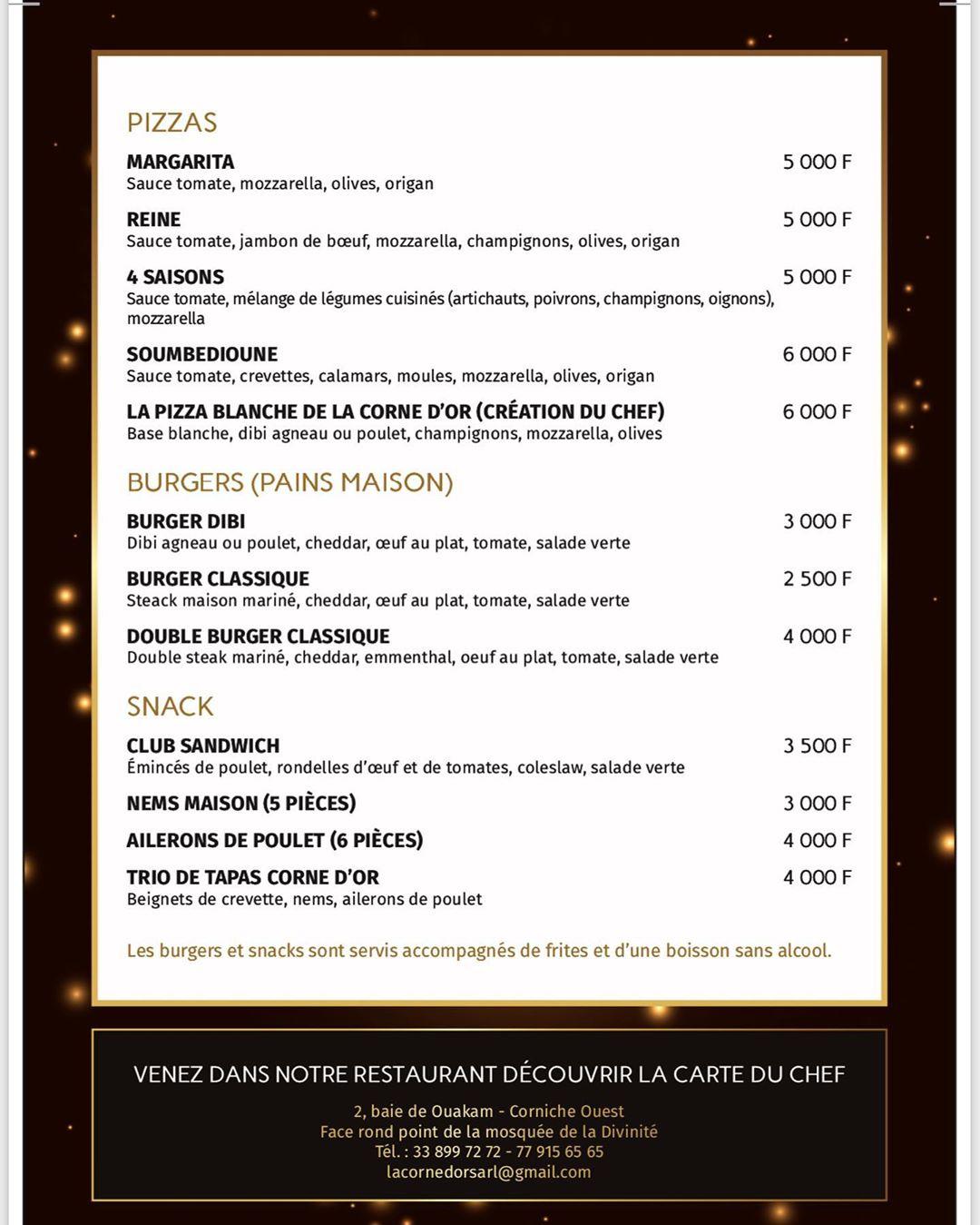 menu la corne d'or