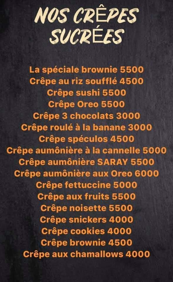 Menu Chocolate Sarayi Dakar