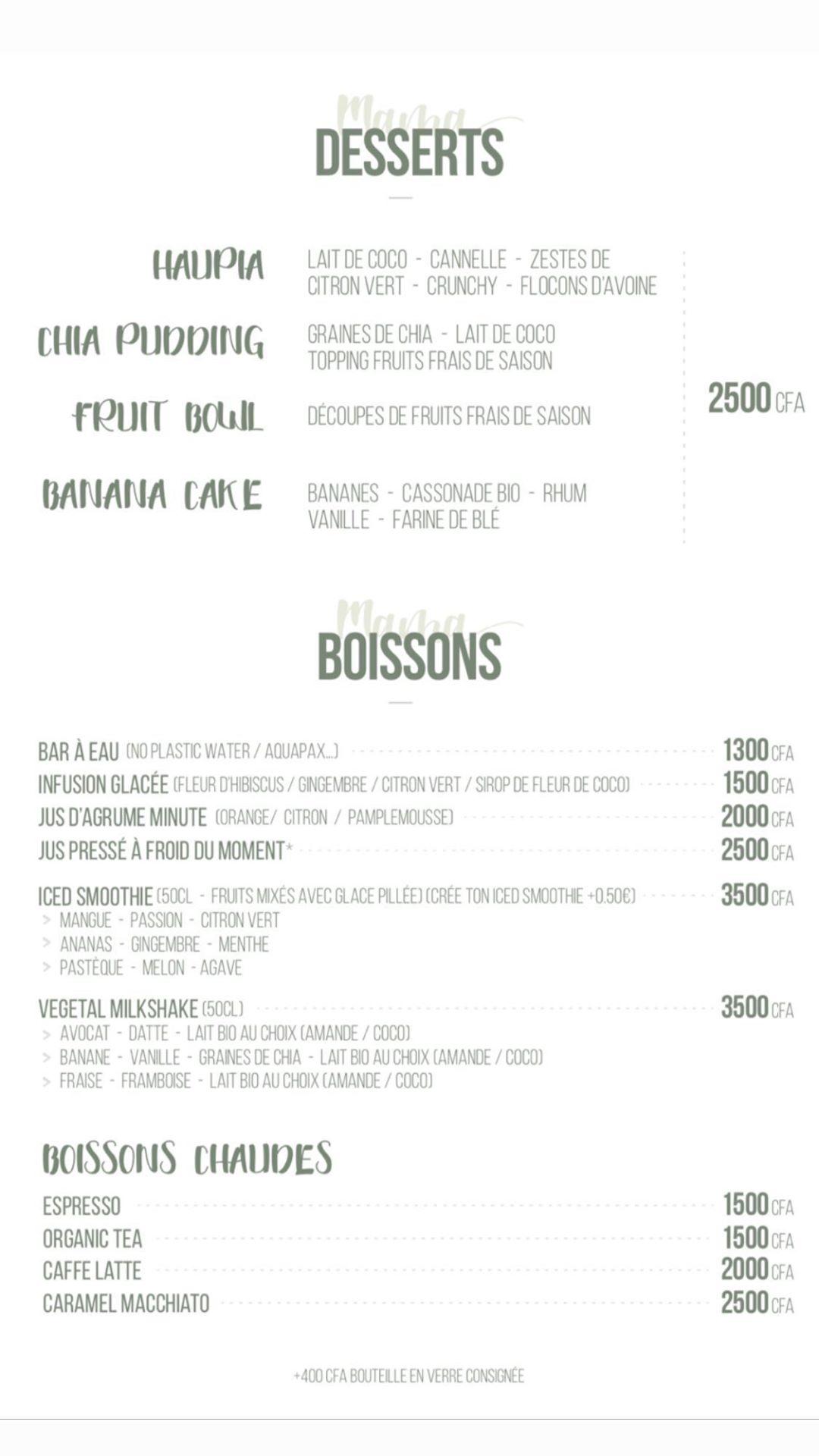 menu mama hilo Dakar